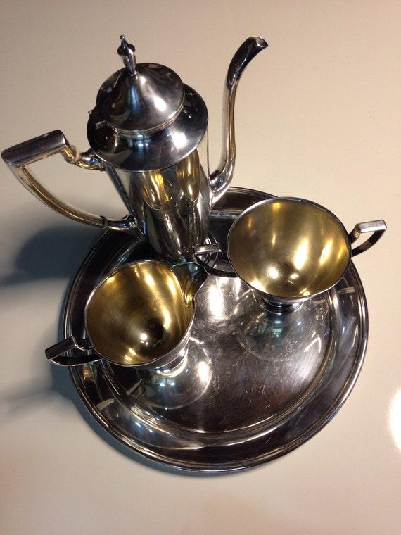 Sterling Silver Art Deco Tea Service Alvin Cream, Sugar, Teapot, and Tray