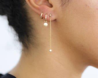Stud Chain Earring - Gold Dangle Chain Earrings -  CZ Charm Earrings - Long Chain Earrings - Gold Filled Earrings - Minimalist Gold Earrings