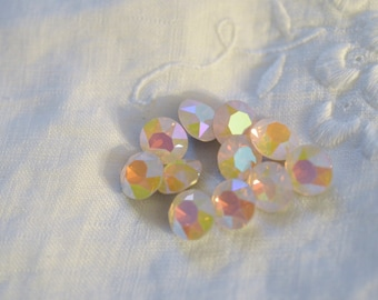 12 pieces 1088 Rose Water Opal AB 8mm (39ss) Swarovski Crystal Chatons with After Market Coating