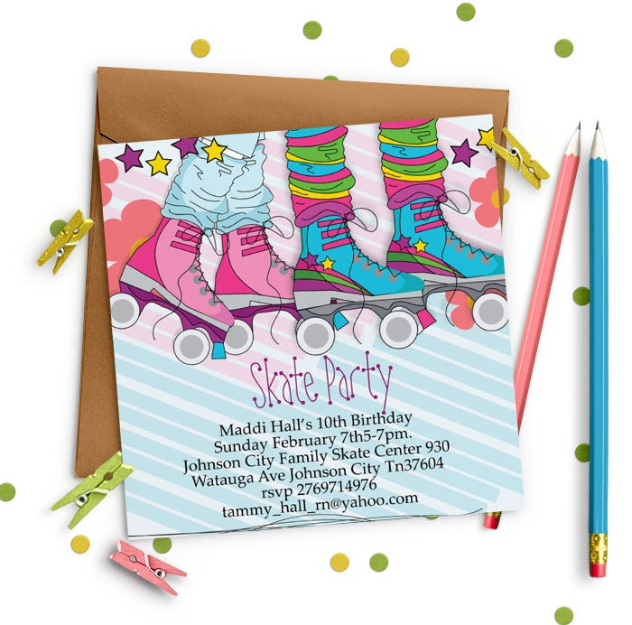 Skate Party Invitation Roller skating invitation for girls