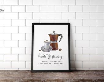 Kitchen Recipe Wall Art Haute and Steamy | Sign or Card | Instant Download | 5x7 8x10 11x14 | Print it yourself! | Recipe Art