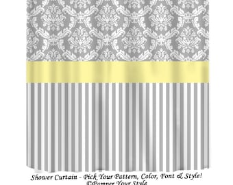 Grey And Yellow Shower Curtain Damask Stripe Any Color Band