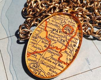 Paris Map Pendant Paris France Travel Gift