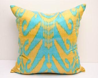 18x18 ikat pillow cover, blue, yellow, pillows, blue ikats, yellow blue, cushion case, home pillows, accent pillows, throw pillows