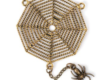 Large Spider Web w/ Dangling Spider Pendant (STEAM287)
