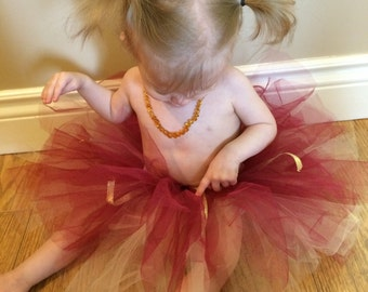 Red cream and gold double layered tutu