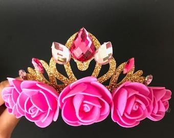 Aurora Crown,Pink Flower Headband,Aurora Elastic Headband,Flower girl Headband,Sleeping Beauty Crown,disney princess crown,Aurora accessory,