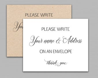 Name and address sign, Please Write Your Name & Address On an Envelope, baby shower, wedding, bridal shower printable Instant Download B11