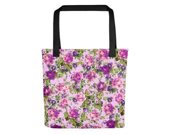 Pink and Violet Rose Tote Bag | Floral Tote Bag Bohemian Bag Pastel Grunge Bag Rose Bag Boho Bag Flower Bag Festival Bag Shoulder Bag