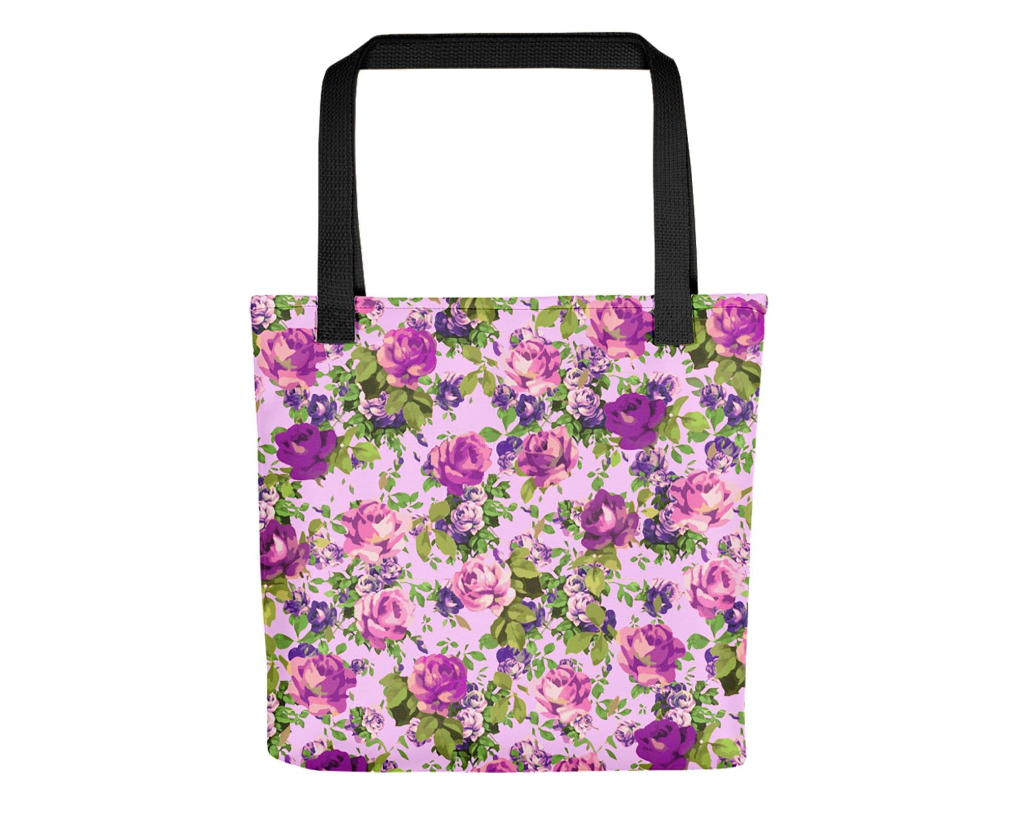 Pink And Violet Rose Tote Bag Floral Tote Bag Bohemian Bag