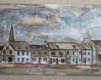 Mixed Media Painting St Ives Row of Houses Original