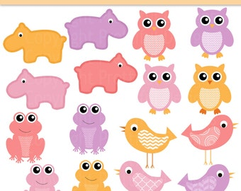 Owl Clip Art Hippo Clipart Frog Bird Clipart Girl Color Digital Scrapbooking Commercial Use Girl Nursery Clipart
