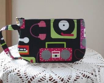 Retro Record Player Clutch, Boombox Wristlet, Zipper Gadget Pouch Small Camera Cassette Tape wristlet