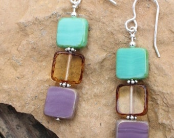 Czech glass beads & sterling silver handcrafted earrings