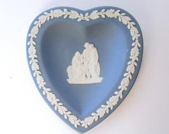 Vintage, Wedgwood, Blue & White Jasperware, Cards Heart