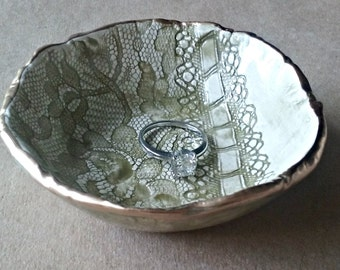 Ceramic Ring Bowl jewelry dish Sage Green edged in gold