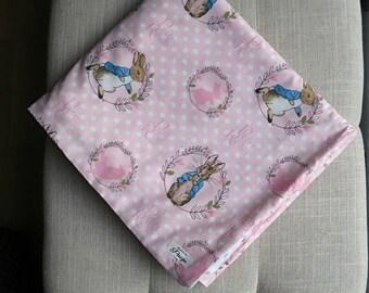 Peter Rabbit blanket, Minky baby blanket, Pink Peter rabbit blanket, Baby Blanket, Baby shower gift
