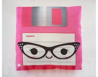 "Decorative Pillow, Floppy Disk, Nerdy, Geeek Pillow, 80's, Retro, Techie, Cotton Pillow, Throw Pillow, Room Decor, Office Decor, 7 x 7"""