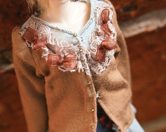 jiajiadoll -light brown laced bowknots shirts for Momoko or Misaki or Blythe
