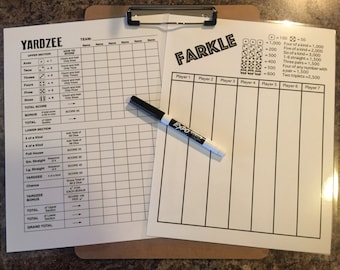 "Double sided laminated Yardzee and Farkle scorecards with clipboard and low odor dry erase marker - 8.5"" x 11"""