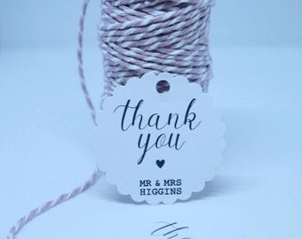 Personalised Wedding Favour Tags - Scallop Circle Thank You Tags