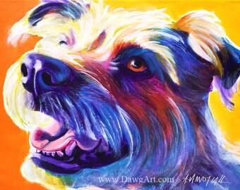 Terrier, Pet Portrait, DawgArt, Dog Art, Terrier Art, Pet Portrait Artist, Colorful Pet Portrait, Dog, Art, Wire Hair Fox Terrier