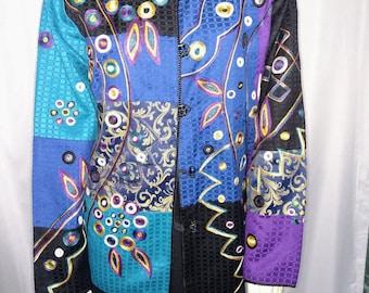 CLEARENCE SALE Allure Jacket/Size XL Blue Jacket/Multicolor Jacket/Vintage Cotton Jacket/Blue Appliques Jacket/Multicolor Womens Blazer/N287