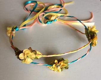 Yellow Hair Wreath Silk Flower Circlet Wedding Headpiece, Handmade Hair Accessories