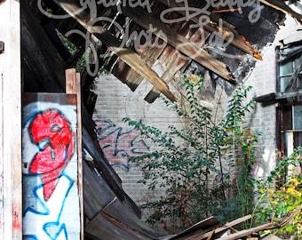 Abandoned Building Photography, Graffiti, Burned Building, Print, Graffiti Print