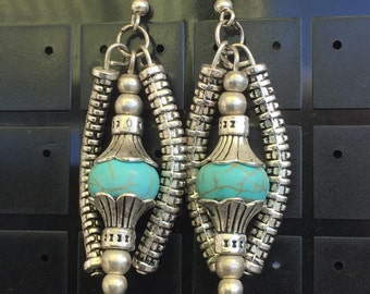 Turquoise and Tibetan silver Earrings