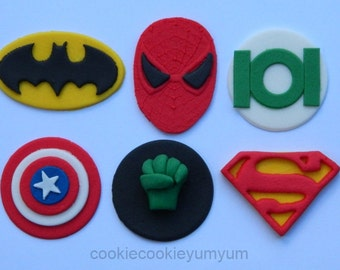 12 edible AVENGERS SUPER HERO superman batman spiderman marvel cake cupcake wedding topper decoration party wedding birthday engagement