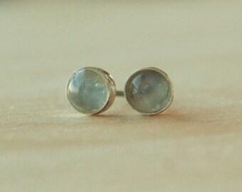 Catseye Moonstone Gemstone Titanium Earrings Studs / 6mm Cabochon Bezel Set / Earrings for Sensitive Ears
