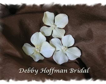 Bridal Flower Hair Pins, Flower Bobby Pins with Pearls & Swarovski AB Crystals, Set of 3, Ivory Hydrangea Flowers. Wedding Flower Hair Pins