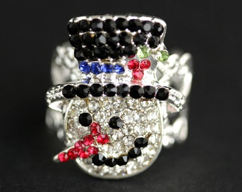Rhinestone Snowman Ring. Rhinestone Ring. Christmas Ring. Holiday Jewelry. Adjustable Ring. Christmas Jewelry. Silver Ring. Holiday Ring.