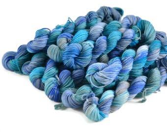 Mini Skeins, Hand Dyed Yarn, Sock Weight, Superwash Merino Wool Yarn, Knitting Yarn, Sock Yarn, Multi-colored, blue aqua - Oceans Between Us