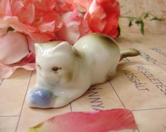 Vintage,Hungarian, ZSOLNAY porcelain animal figurine,cat,kitty with ball,handpainted stamped