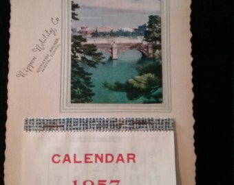 Vintage 1957 Japan Calendar January thru December  Rippon Nobility Co.  made in Nikkatsu Arcade, Hibiya Tokyo