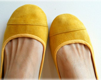 LUNAR- Ballet Flats - Suede Shoe-Lemon Zest. 38- Available in different sizes see below