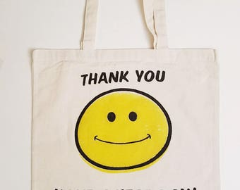 Lightweight Smiley Tote Bag Canvas Bag Shopping Bag Grocery Bag
