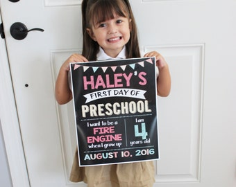 First Day of School Chalkboard Sign, Photo Prop DIGITAL FILE