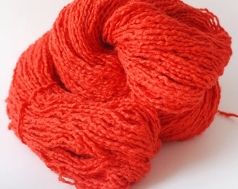 Red-orange recycled cotton/wool/acrylic blend yarn, worsted weight