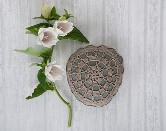 crochet stone, crochet rock, tabletop decor, natural taupe cotton thread, bowl element, paperweight, fiber art, ring bearer