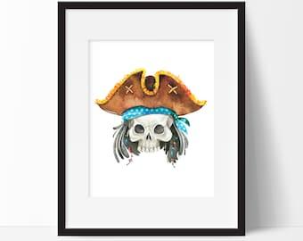Pirate Bathroom Decor, Watercolor Pirate Print, Pirate Bedroom