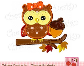Owl Autumn owl Fall Embroidery Applique - 4x4 5x5 6x6 inch