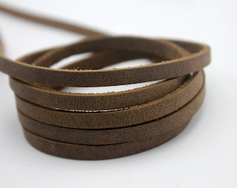 1 Yard 5mm Rustic Leather Strip  Bracelet Making Leather Craft 2mm Thick GF5M155