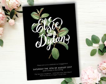 Botanical Engagement Invitation, Black, Green, Typographic, Typography, Greenery, DIY, Printable, Botanic, Modern, Script (Intertwined)