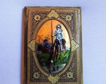 Rare Fused Glass Enamel Powder Compact, Don Quixote Figural Art Glass Compact