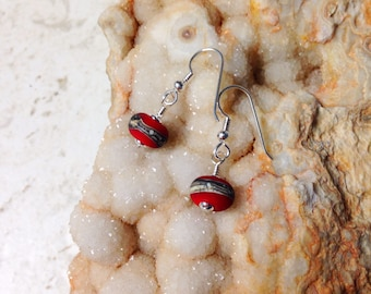 Red and Silvered Swirl Etched Glass and Silver Earrings