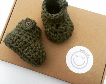 Crochet baby booties, baby boy booties, khaki baby shoes, new baby gift, crocheted baby shoes, newborn baby booties, baby shower gift