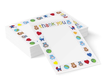 Baby Boy Notepaper, A5 Thank You Paper, Digital Stationery, Printable Stationery, Instant Download, Baby Boy